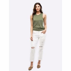 ABLE The Slouch Boyfriend Jeans White Distressed